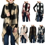 LOF527 Plaid Vest W/ Fringes