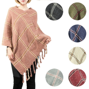 LOF575 Plaid Poncho W/ Fringes