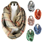 PCE3999 Knit Classic Plaid Infinity Scarf
