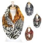 PCE3950 Two Tone Remixed Animal Print Infinity