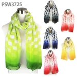 PSW3725 Geo Block Tie-Dye Print Scarf