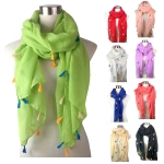 PSY4123 SOLID W/MULTI COLOR TASSEL ALL AROUND SCARF