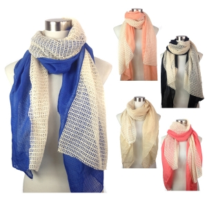 PSY4135 Net Lace Middle and Solid Sides Scarf