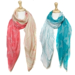 SC0084 STAR FISH W.WAVE PRINTED SCARF