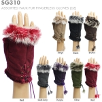 SG310 Assorted faux fur fingerless gloves (Value Pack Sale)