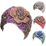 SH001 Chunky Knit Headband w/Big Flower (1dz)