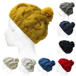 SH4003 Solid Knit Beanie With Ball