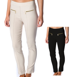 SL3909 Solid Spandex Pants with Zipper