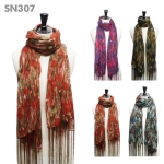 SN307 Multicolor Print Fringed Scarf