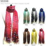 SS208 Two Tone Scarf with Tassels Scarf