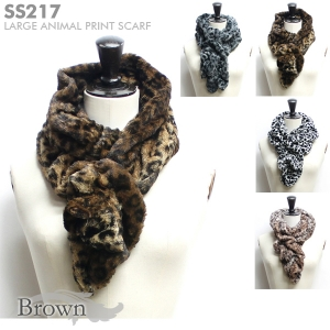 SS217 Large Animal Print Faux Fur Scarf