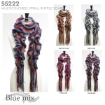 SS222 Multicolored spiral ruffle scarf