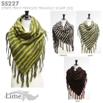SS227 Stripe Print Fringed Triangle Scarf