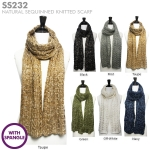 SS232 Natural Sequinned Knitted Scarf w/Spangle (Value Pack Sale)