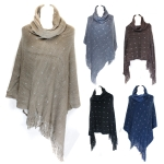 SP2424 Silver Square Patterned Poncho