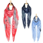 SS2427 OVER-SIZED PAISLEY & WATERCOLOR DOT SCARF