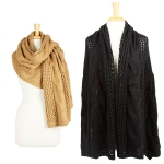 SS2466 Multi Use Oversize Cable Shawl