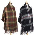 SS2473 Plaid Oversize Shawl with Hand Hole