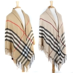 SS2476 Plaid check oversize shawl with fringe