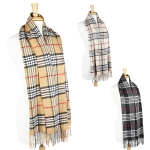 SS2478 Plaid check scarf with fringe