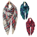 SS2482 Oversize Cashmere Feel check Plaid Pattern Scarf