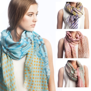SS2508 Check & Polka Dot Pattern Scarf