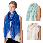 SS2570 Anchor Embossed Solid Scarf