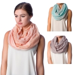 SS2571 Dot Embossed Solid Infinity Scarf