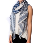 SS2576 LEAF ABSTRACT STRIPE PATTERN SCARF