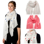 SS2602 Whale Embossed solid Scarf