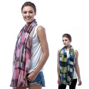 SS2902 Color Block Brush Touch Modal Infinity Scarf