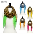SS306 Leopard Print Color Accent Scarf