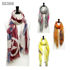 SS308 Star Print Color Accent Scarf