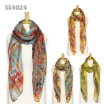 SS4024 MY HOMETOWN FLORAL BORDER SCARF