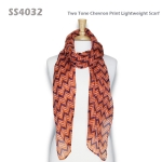 SS4032 Two Tone Chevron Print Lightweight Scarf