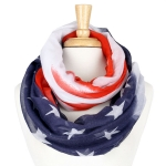 YC004 American US Flag Stars Knitted Infinity Scarf
