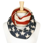 YC010 American US Flag Stars Knitted Infinity Scarf