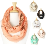 YC016-1 Gold Metallic Floral Infinity Scarf