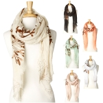 YC016 Gold Metallic Floral Long Scarf