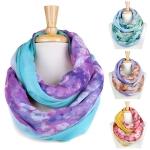 YC057 Floral Tie Dye Infinity Scarf