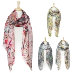 YC088 Art print scarf with women and fan