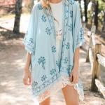 YSK5248 Lightweight Lace Scallop Trim Embroidered Kimono