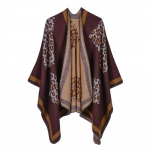 FP001 Leopard Pattern Cape, Burgundy
