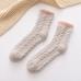 FO009 Solid Knitted Pattern Soft Plush Socks - Dz