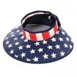 AO3093 America Flag Roll up Visor Hat, White