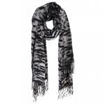 AO5044 Tiger Pattern Oblong Scarf w/Tassels, Black