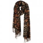AO5044 Tiger Pattern Oblong Scarf w/Tassels , Brown
