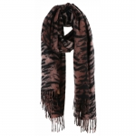 AO5044 Tiger Pattern Oblong Scarf w/Tassels, Khaki