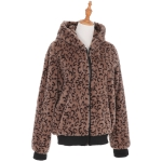 AO6122 Animal Print Furry Short Jacket with Zipper and Hood