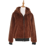 AO6123 Solid Furry Short Jacket with Zipper and Hood, Brick